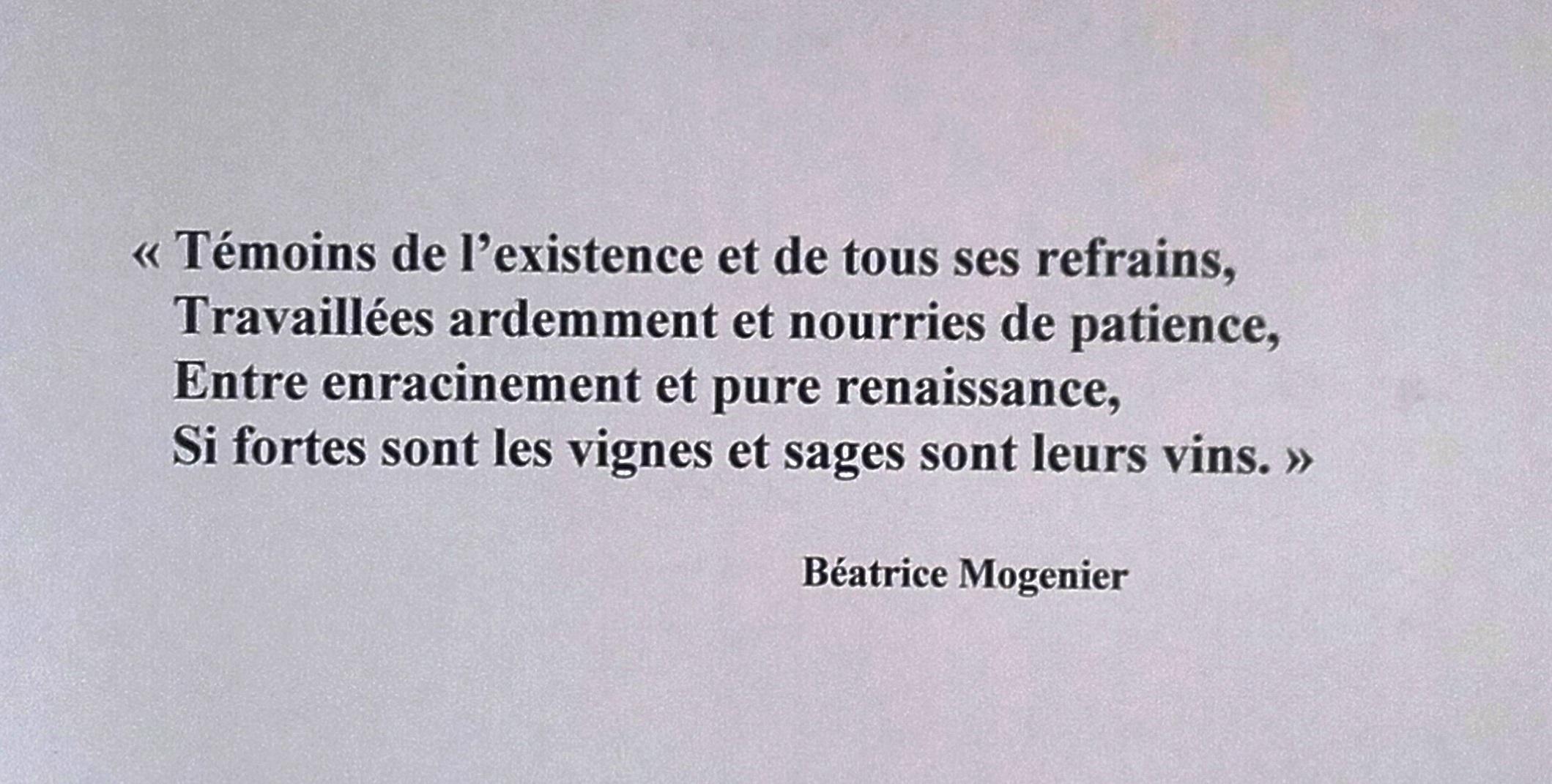Poème vin Béatrice Mogenier