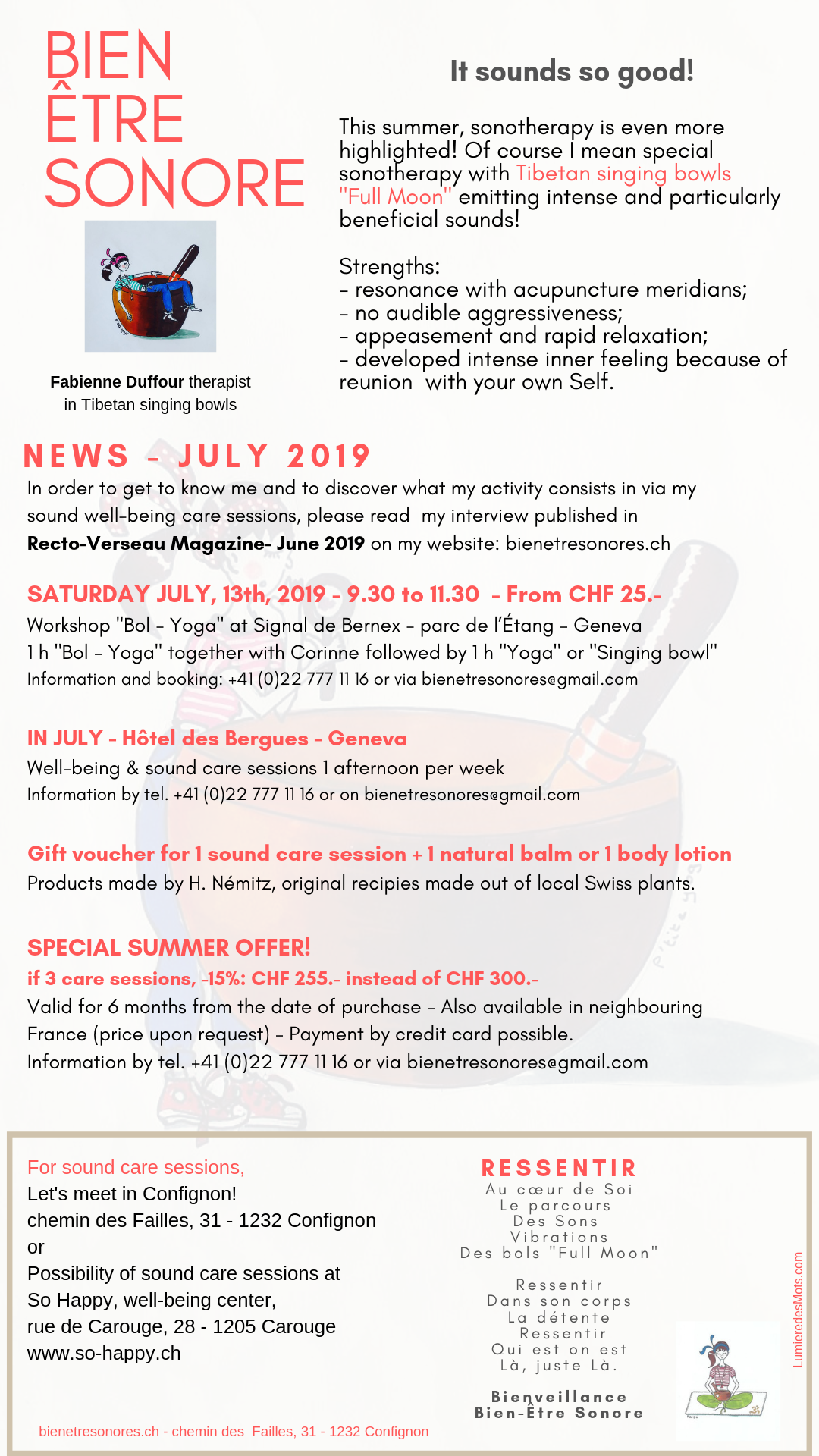 Newsletter Bien Être Sonore July 2019